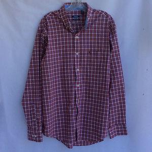 Izod Men's Red Plaid Button Down Dress Shirt